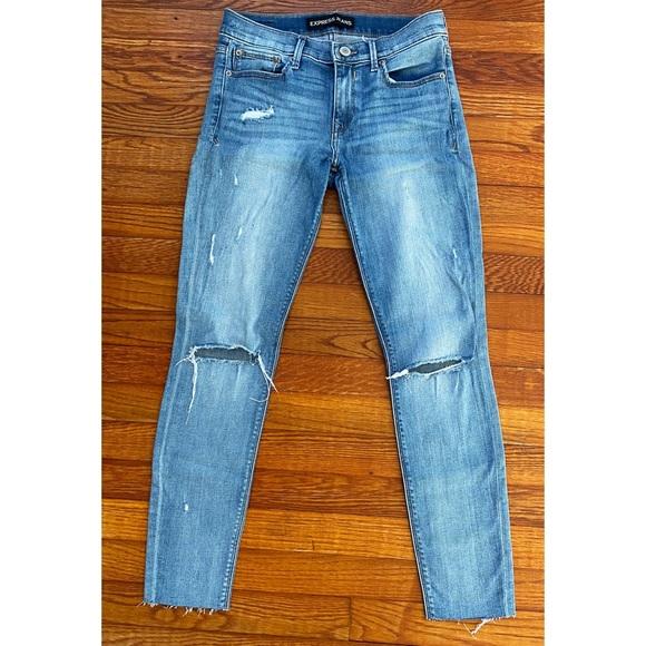 Express Denim - distressed, mid rise skinny jeans